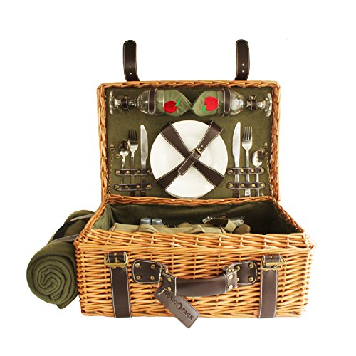 Picnic-Pack-USA-English-Style-Wicker-Picnic-Basket-With-Built-in-Food-Compartment-Corduroy-Lining-Upscale-Service-for-2-With-Fleece-Blanket-Green-0