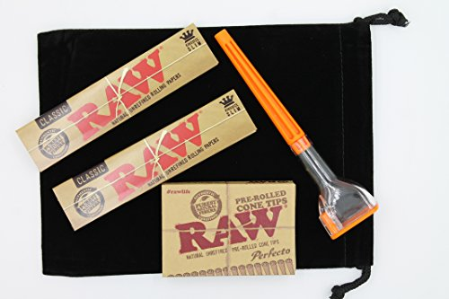 Raw-Rolling-Paper-Bundle-5-Items-1-Cone-Artist-Cone-Roller-2x-Raw-King-Size-Paper-1-Pre-Rolled-Cone-Tips-Icludes-Black-Velvet-5-X-7-Bag-0