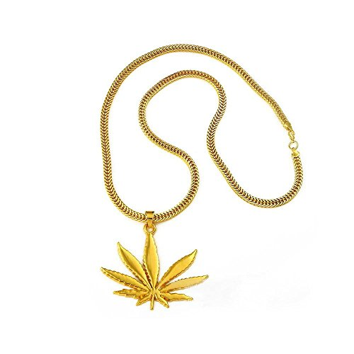 Gold plated pot leaf pendant necklace highly appealing 6999 aloadofball Image collections