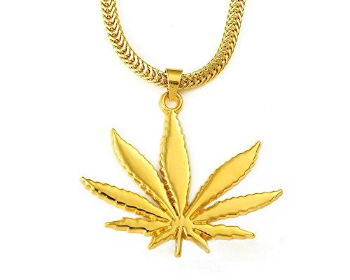 Hip-Hop-18K-Gold-Plated-Marijuana-Leaf-Pendant-Necklace-24-Chain-0