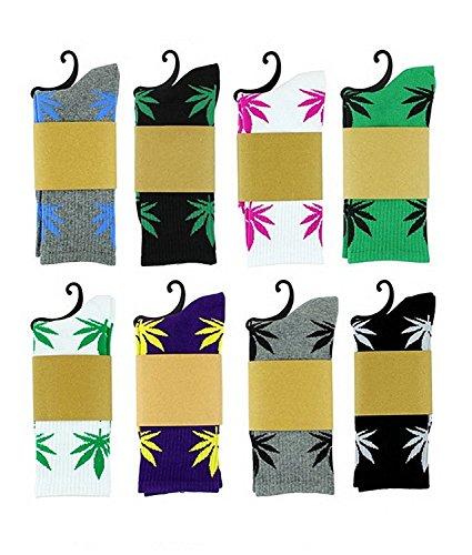 Spring-Fever-Unisex-Marijuana-Weed-Leaf-Printed-Crew-Socks-0
